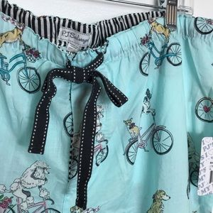 PJ Salvage Blue Dogs on Bike Pajamas XL NWOT